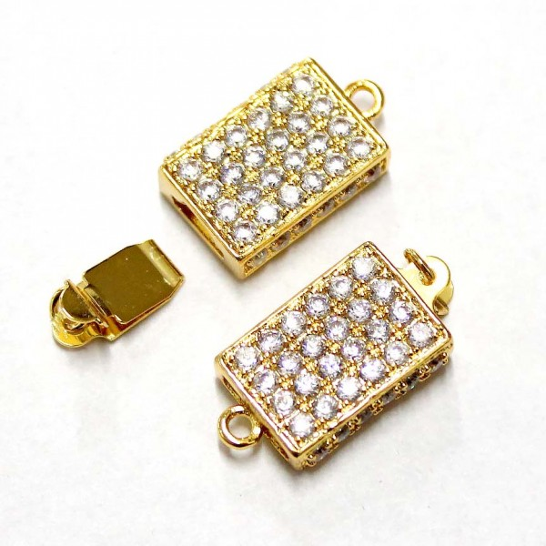 "Clasp with zircons ""LUX"" 20x10mm 1pcs. (F01L3006)"