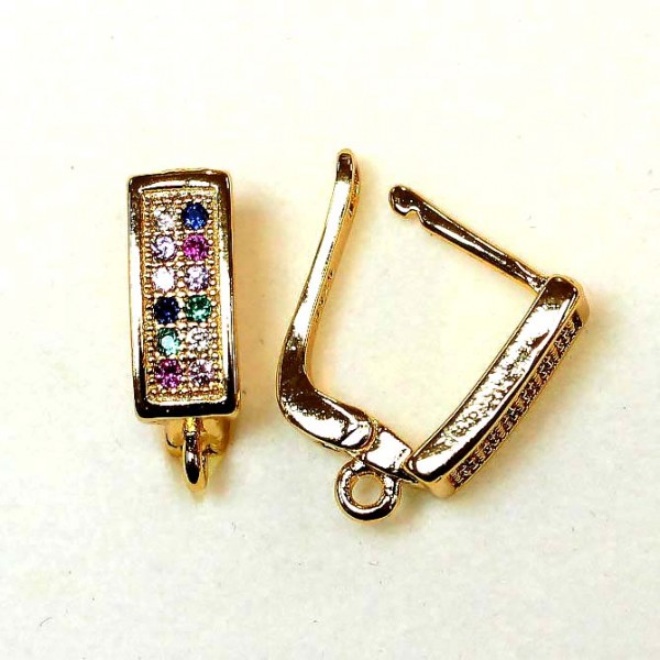 """Earring fittings with zircons """"LUX"""" 15x5mm 2pcs. (F02L3231)"""