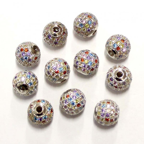 """Spacer with zircons """"LUX"""" 10mm 1pcs. (F13L1102)"""