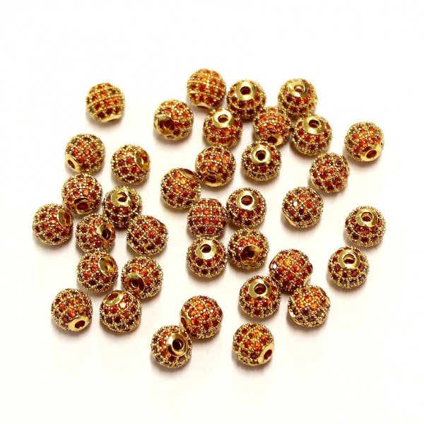 """Spacer with zircons """"LUX"""" 6mm 1pcs. (F13L3140)"""
