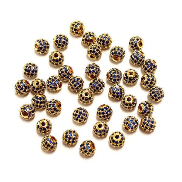 """Spacer with zircons """"LUX"""" 6mm 1pcs. (F13L3141)"""