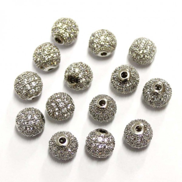 "Spacer with zircons ""LUX"" 8mm 1pcs. (F13L1134)"