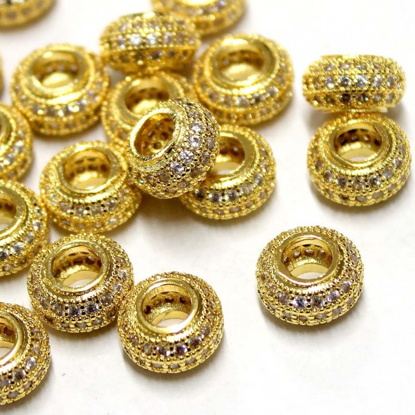 """Spacer with zircons """"LUX"""" 11x6mm 1pcs. (F13L3001)"""
