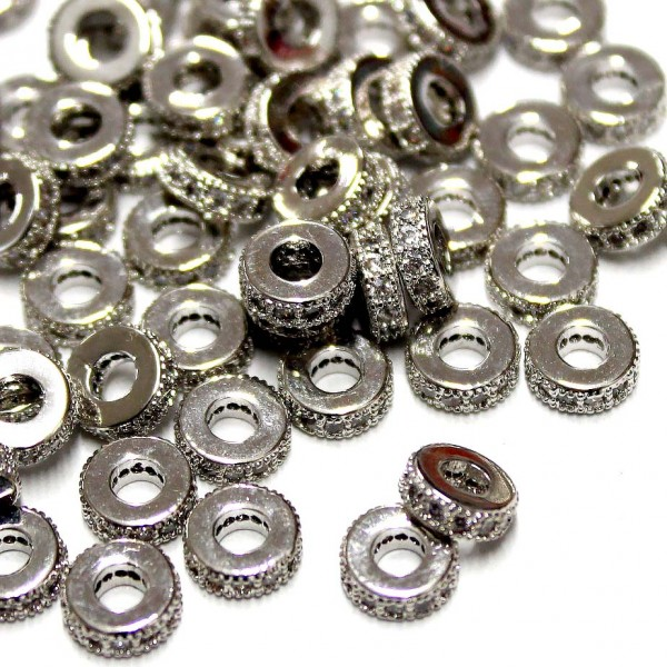 """Spacer with zircons """"LUX"""" 6,5x2mm 1pcs. (F13L1002)"""