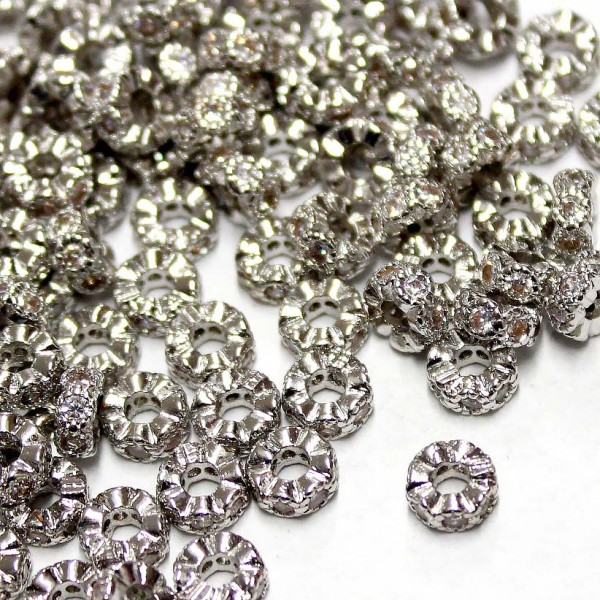 """Spacer with zircons """"LUX"""" 6x3mm 1pcs. (F13L1000)"""
