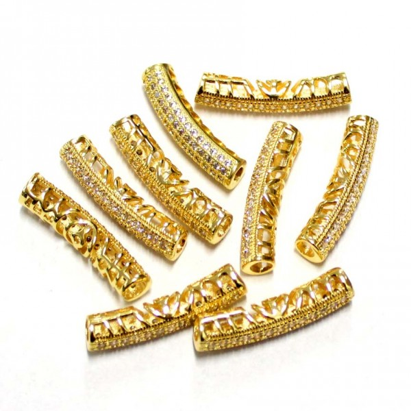 """Spacer with zircons """"LUX"""" 27x6mm 1pcs. (F13L3056)"""